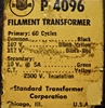 Image de Chicago Transformer Company P-4096 Filament Transformer