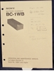 Picture of Sony BC-1WB Operation and Maintenance Manual 1st Edition (Revised 2)