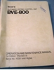 Picture of Sony BVE-800 Operation and Maintenance Manual 1st Edition (Revised 9)